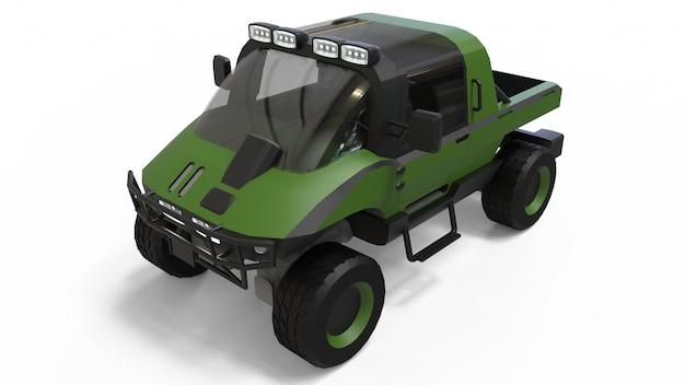 Spezielles geländewagen für schwieriges gelände und schwierige straßen- und wetterbedingungen. 3d-rendering. Premium Fotos