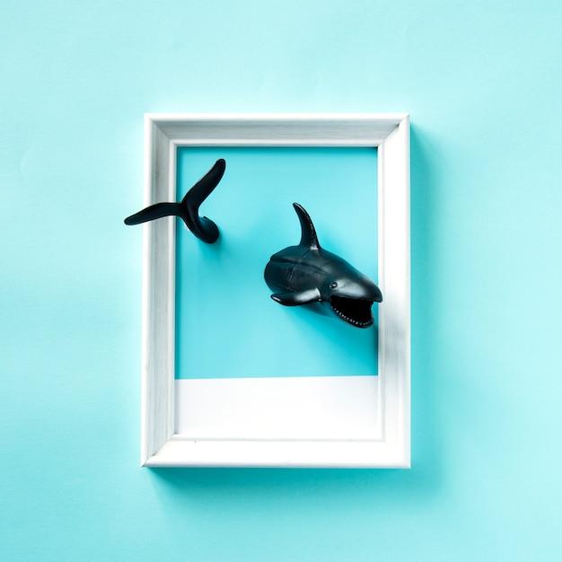 Spielzeughaie schwimmen in einem rahmen Kostenlose Fotos