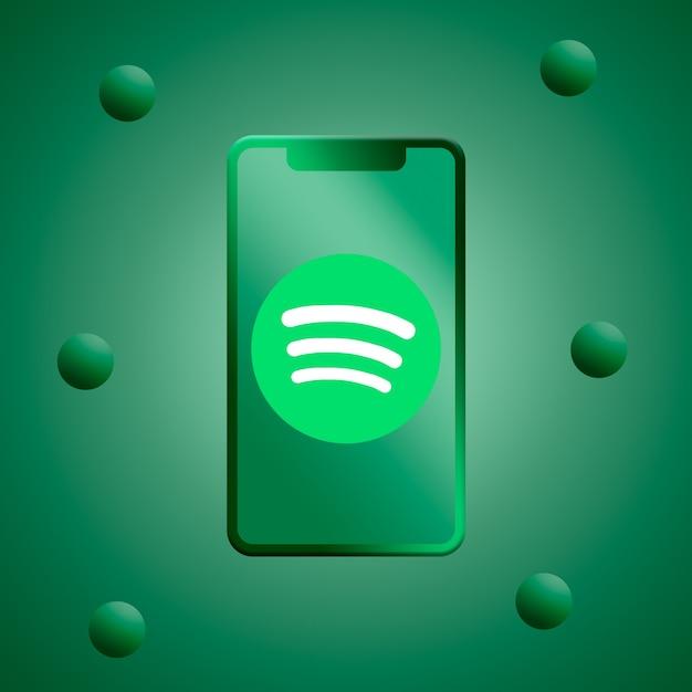 Spotify-logo auf dem 3d-render des bildschirmbildschirms Premium Fotos