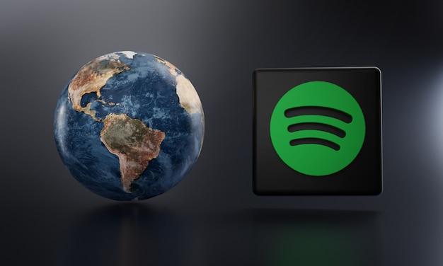 Spotify logo neben earth 3d rendering. Premium Fotos