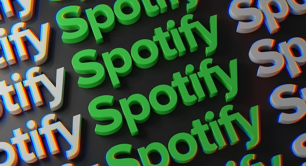 Spotify multiple typography an der dunklen wand Premium Fotos