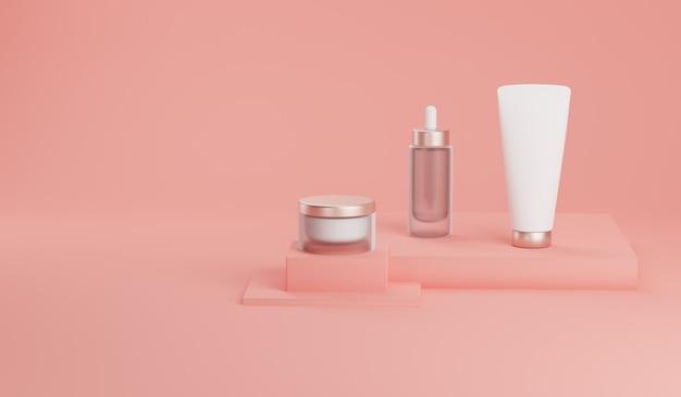 Spott der wiedergabe 3d herauf kosmetisches bündel für hautpflege. Premium Fotos