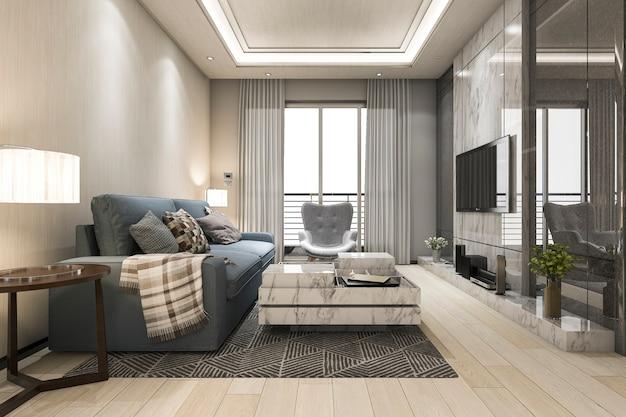 Spott der wiedergabe 3d herauf rahmen im wohnzimmer mit sofa Premium Fotos