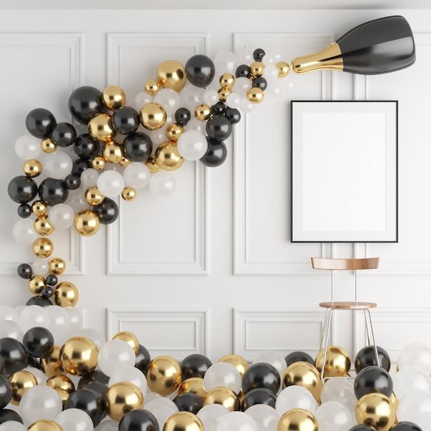 Spott herauf Plakat-Rahmen-Weihnachtsneuen Jahr-Innenraum-Hintergrund Premium Fotos