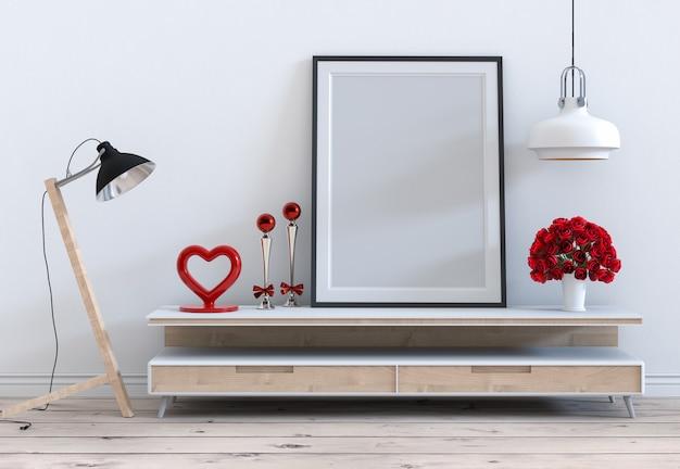 Spott herauf rahmen mit innenwohnzimmer des rosafarbenen valentinsgrußes Premium Fotos
