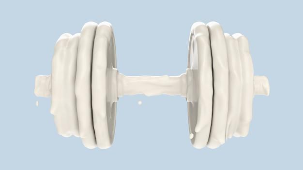 Spritzer milch in form von hantel. wiedergabe 3d, illustration 3d. Premium Fotos