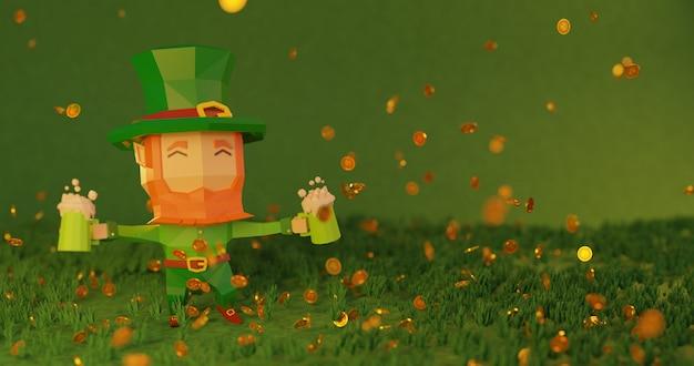 St. patrick's day 3d gerenderte illustration in 4k Premium Fotos