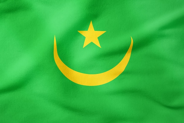 Staatsflagge von mauretanien - patriotisches symbol der rechteckigen form Premium Fotos