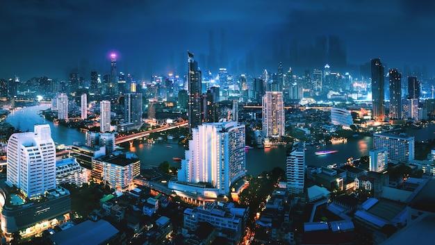 Stadtbild des futuristischen bangkok stadthintergrundes bei nacht in thailand Premium Fotos