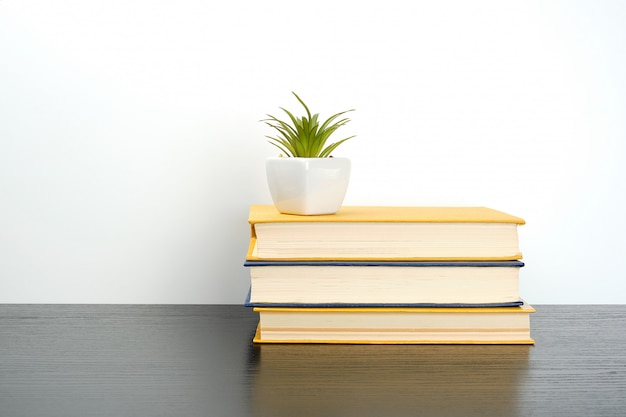Stapel bücher auf einem schwarzen tisch, oben ein keramiktopf mit einer grünpflanze Premium Fotos