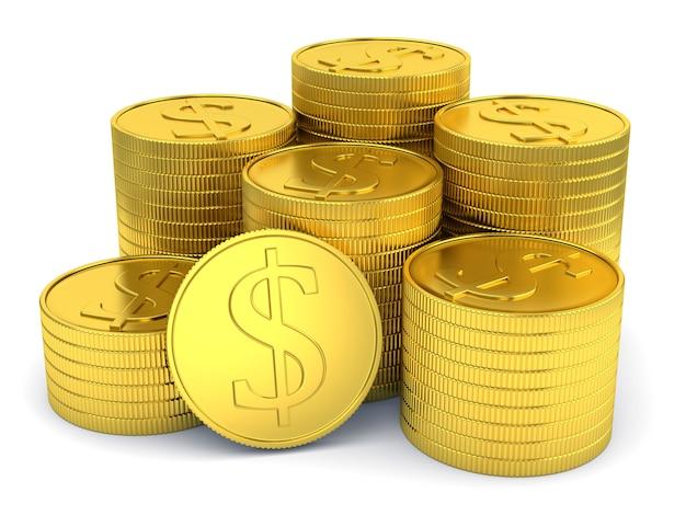 Stapel der goldenen münzen mit dem dollarsymbol getrennt auf weiß Premium Fotos