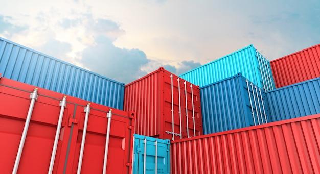 Stapel des behälterkastens, frachtfrachtschiff für importexport 3d Premium Fotos