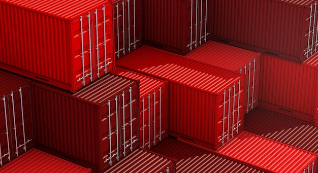 Stapel des roten behälterkastens, frachtfrachtschiff für importexport 3d Premium Fotos
