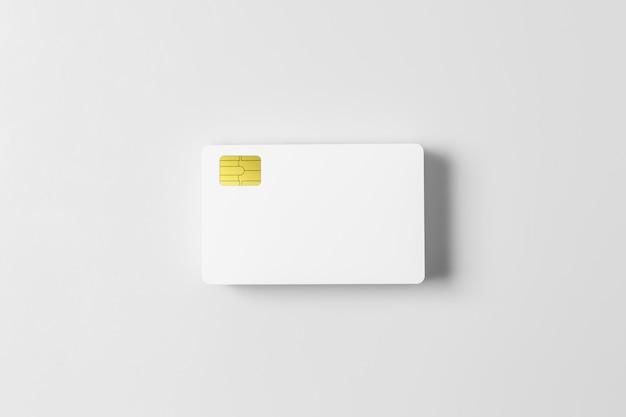 Stapel des weißen leeren kreditkartenmodells auf weißem hintergrund. Premium Fotos