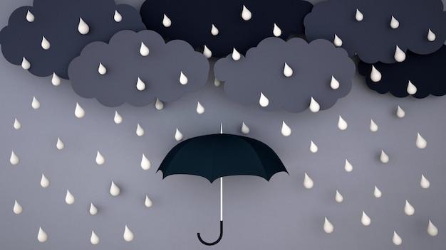 Starker regen auf dunkler wolke und dunklem himmel - regenzeit - ein regenschirm im regen - wiedergabe 3d Premium Fotos