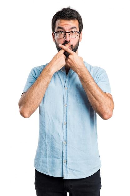 Stattlicher mann macht stille geste Kostenlose Fotos