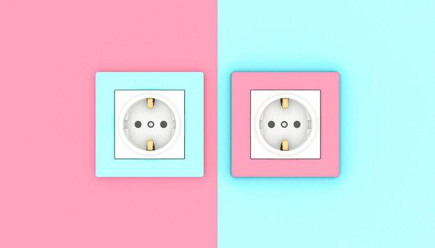 Steckdosen in pink und blau Premium Fotos
