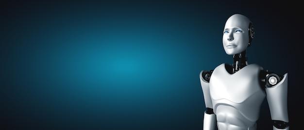 Stehender humanoider roboter, der mit kopierraum nach vorne schaut Premium Fotos