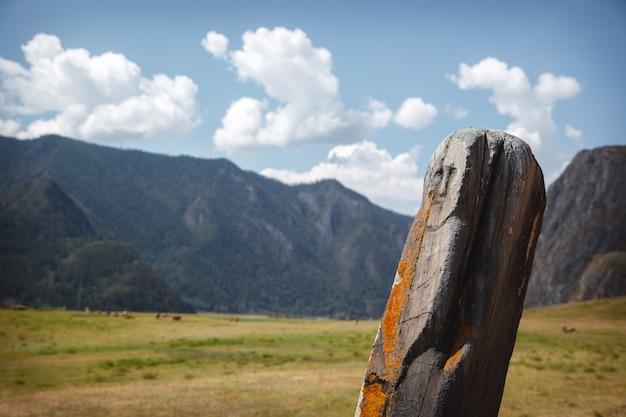 Stein mit einer neolithischen petroglyphe, die das gesicht einer frau darstellt Premium Fotos