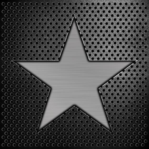 Stern auf einem stahlhintergrund Premium Fotos