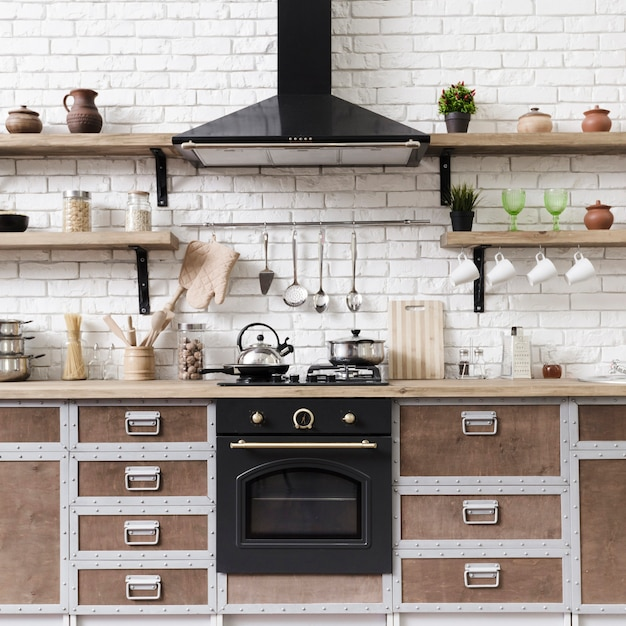 Stilvoller moderner küchenbereich der vorderansicht mit insel Premium Fotos
