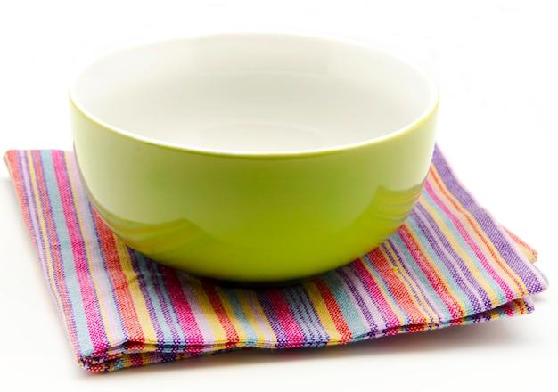Stoffservietten und küchenschale Premium Fotos