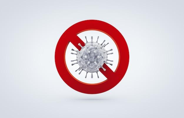 Stoppen sie das coronavirus-symbol. der kampf gegen das coronavirus. keine infektion und stop-coronavirus-konzepte. 3d isoliert Premium Fotos
