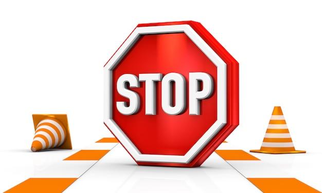Stoppen sie verkehrszeichen mit einem verkehrskegel, der im weißen hintergrund 3d illustrations-rendering isoliert wird Premium Fotos