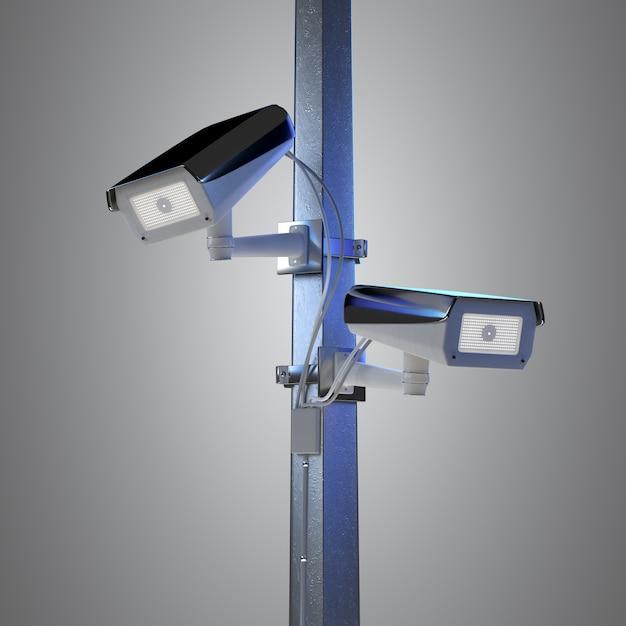 Straßensicherheits-überwachungskamera lokalisiert auf einem hintergrund - wiedergabe 3d Premium Fotos