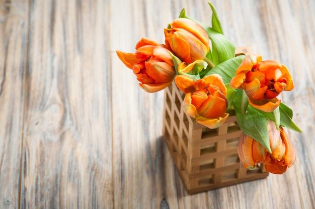 Strauß orange tulpen Premium Fotos
