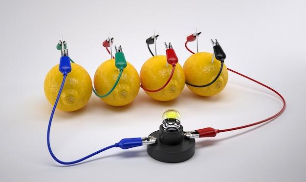 Strom aus zitronenbatterie Premium Fotos