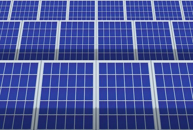 Stromerzeuger-system, solarzellen-panels feld bauernhof industrie hintergrund. Premium Fotos