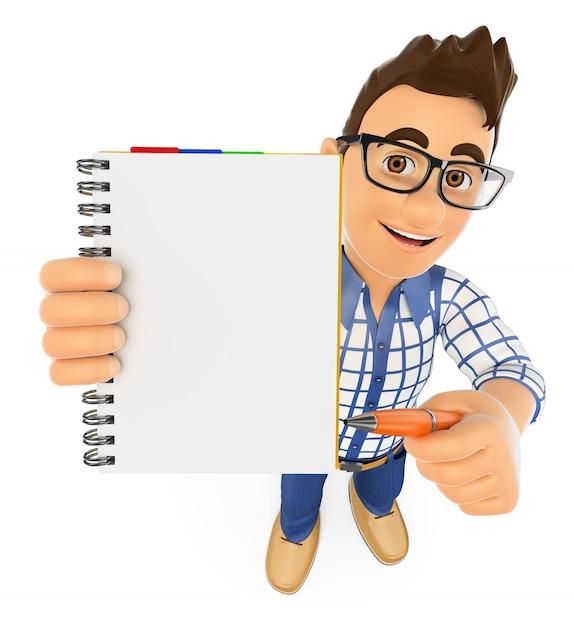 Student 3d mit einem leeren notizblock und einem stift Premium Fotos