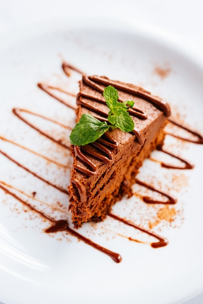 Stück schokoladenkuchen mit minze und schokoladenbelag unter den lichtern mit einem verschwommenen hintergrund Kostenlose Fotos