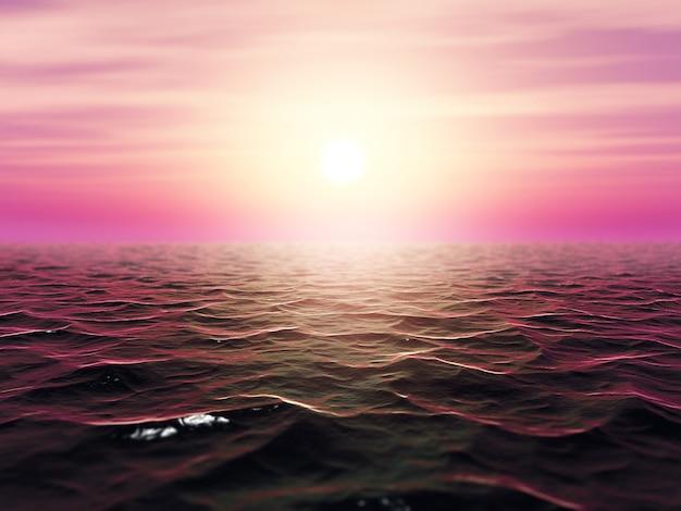 Stürmische landschaft des ozeans 3d mit flacher schärfentiefe Kostenlose Fotos