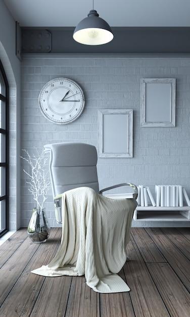 Stuhl mit decke und riesigen uhr Kostenlose Fotos