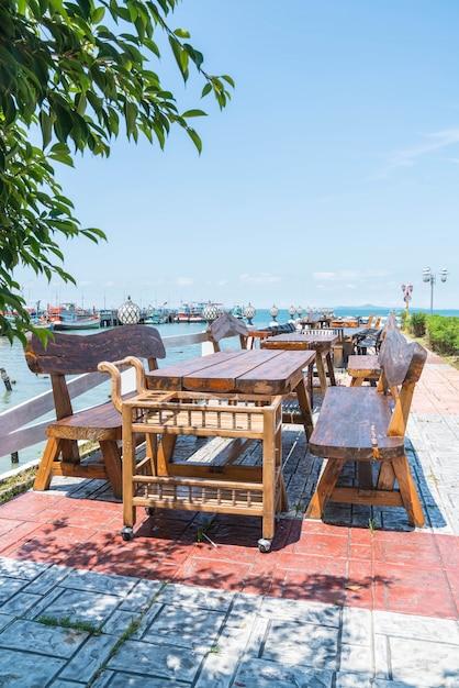 Stuhl Und Tisch Auf Terrasse Restaurant Mit Meerblick