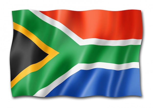 Südafrikanische flagge isoliert Premium Fotos