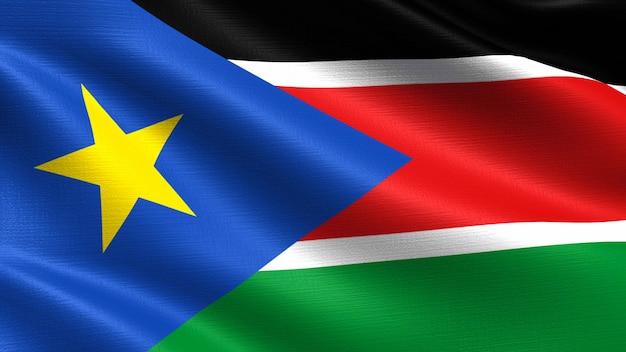 Südsudan flagge, mit wehenden stoff textur Premium Fotos