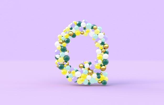 Süßer süßigkeitskugelbuchstabe q Premium Fotos