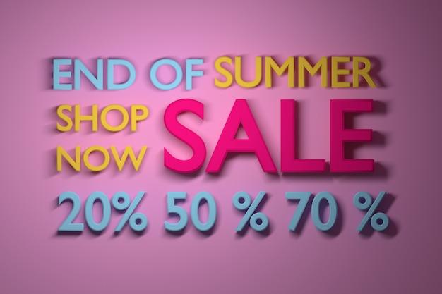 Summer sale banner mit großen prozentzahlen in lebendigen. Premium Fotos