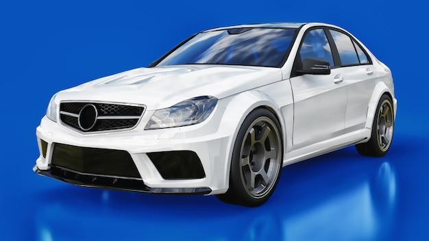 Super schnelles weißes sportauto auf einem blauen hintergrund. karosserieform limousine. tuning ist eine version eines gewöhnlichen familienautos. 3d-rendering. Premium Fotos