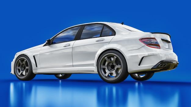 Super schnelles weißes sportauto auf einem blauen hintergrund. karosserieform limousine. tuning ist eine version eines gewöhnlichen familienautos Premium Fotos