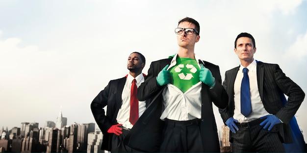 Superhelden-grünes geschäft bereiten erhaltungskonzept auf Premium Fotos