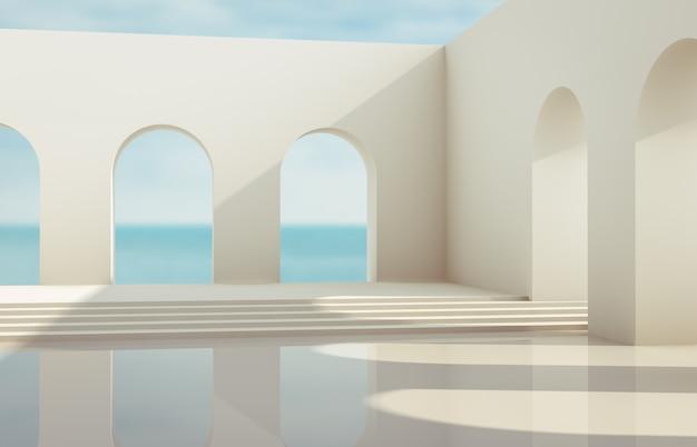 Szene mit geometrischen formen, bogen mit einem podium im natürlichen tageslicht. minimaler landschaftshintergrund. seeblick. 3d render hintergrund. Premium Fotos