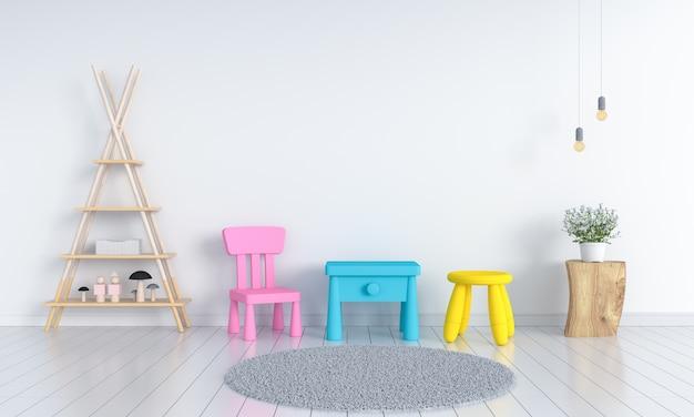Tabelle und stuhl im weißen kinderraum Premium Fotos