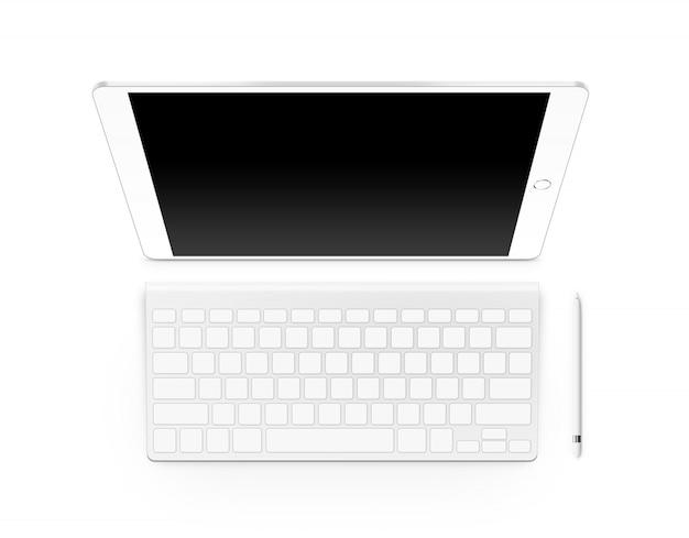 Tablet-modell für leeren bildschirm mit tastatur und stift Premium Fotos