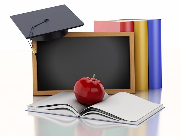 Tafel 3d mit diplom, staffelungskappe und büchern. Premium Fotos