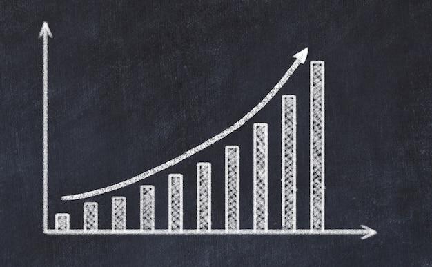 Tafelzeichnung des zunehmenden diagramms mit hohem pfeil Premium Fotos