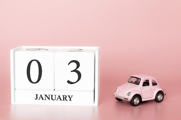 Tag 3 des januar-monats, kalender auf einem rosa hintergrund. Premium Fotos